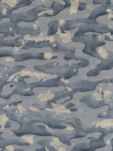 5746 CAMO ISOLE in faded blue & silvery gold texture Fortuny Printed Cottons