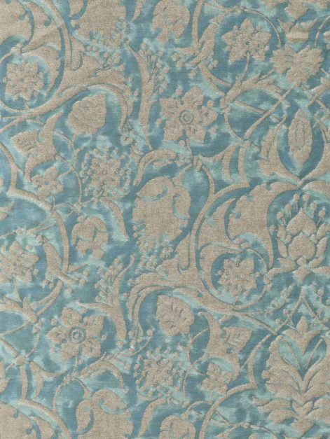 5764 PERSEPOLIS in blue-green & silvery gold Fortuny Printed Cottons