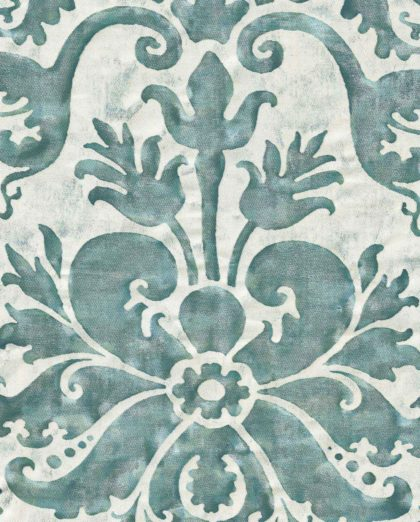 5805 NAVATA in verde antico & pale_grey Fortuny Printed Cottons