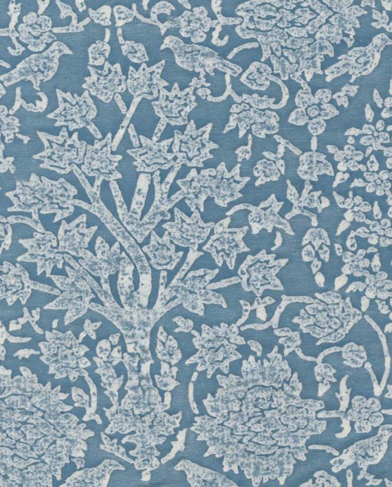 5329 ALBERELLI in cornflower blue & antique white Fortuny Printed Cottons