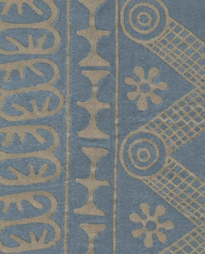 5600 ASHANTI in slate blue & silvery gold Fortuny Printed Cottons