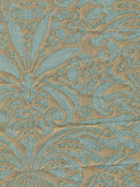 5193 CAMPANELLE in aquamarine & silvery gold Fortuny Printed Cottons