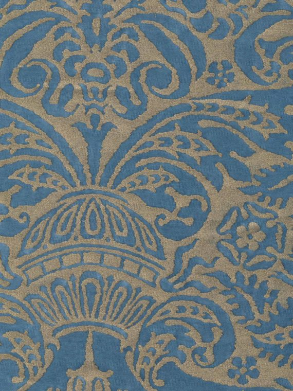5318 CAMPANELLE in blue & silvery gold Fortuny Printed Cottons