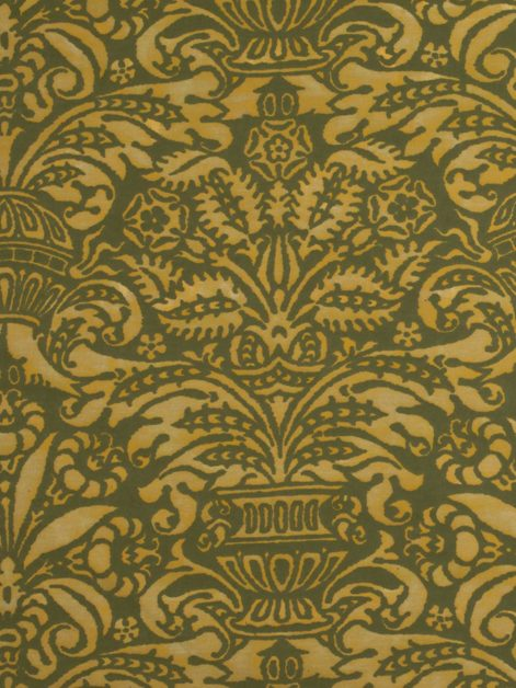 5658 CAMPANELLE in antique ochre & green Fortuny Printed Cottons