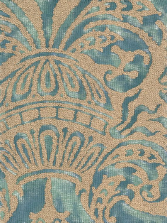 5731 CAMPANELLE in blue-green & silvery gold Fortuny Printed Cottons