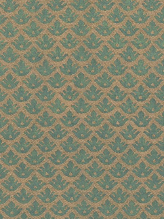 5062 CANESTRELLI in green & silvery gold texture Fortuny Printed Cottons