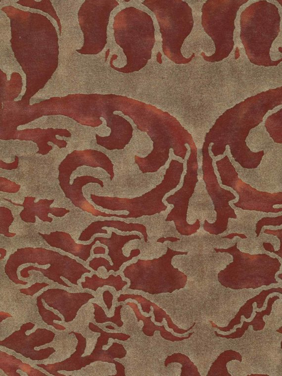 5605 CARAVAGGIO in deep burgundy & gold Fortuny Printed Cottons