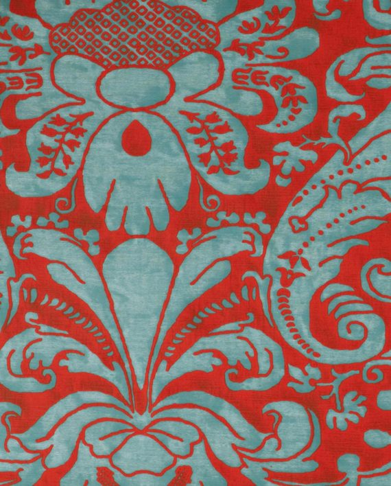 5660 CARAVAGGIO in avio & red Fortuny Printed Cottons