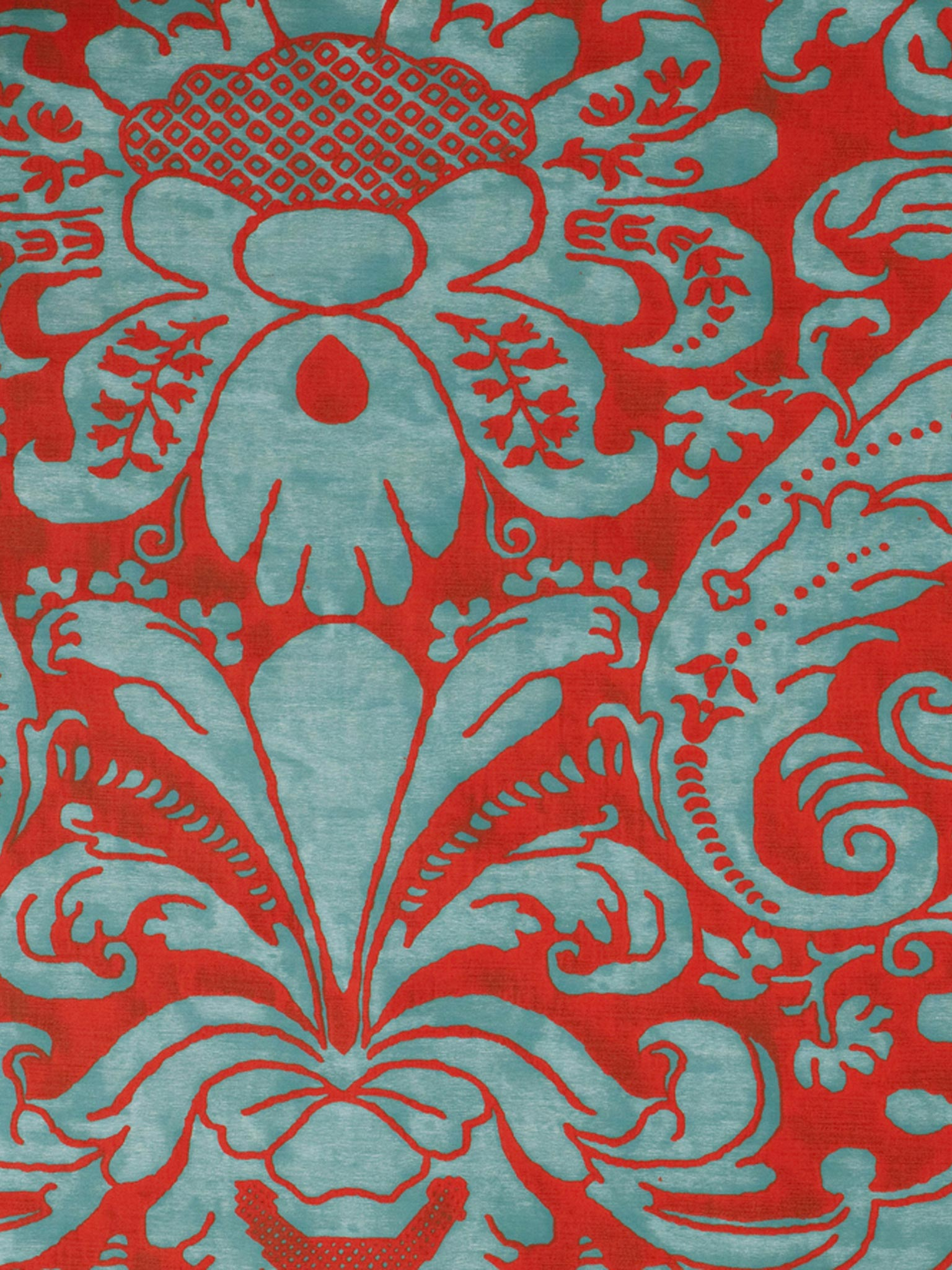 5660 Caravaggio In Avio Red Fortuny Printed Cottons