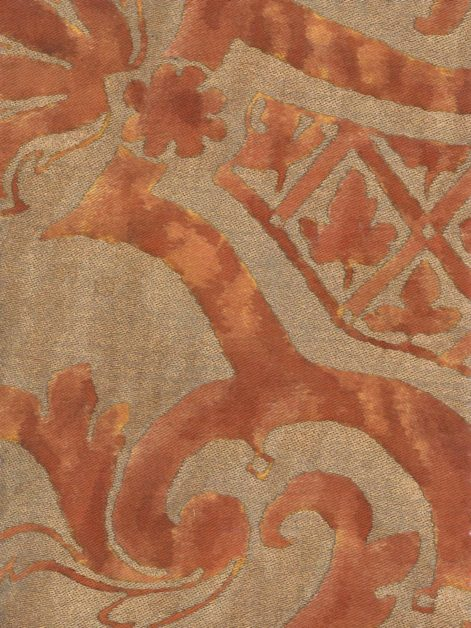 5205 CARNAVALET in red & silvery gold Fortuny Printed Cottons