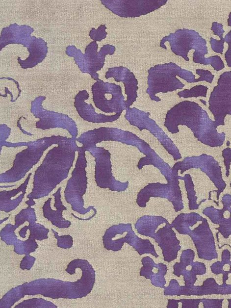 5701 CARNAVALET in royal purple & silvery gold Fortuny Printed Cottons