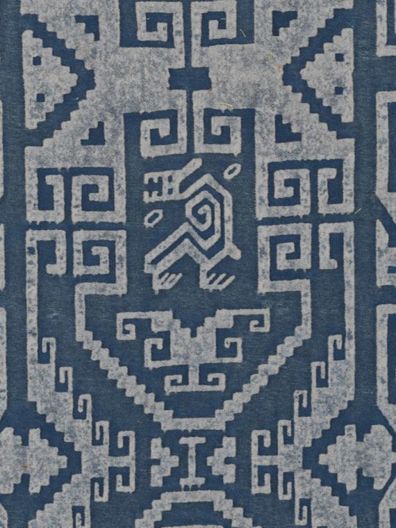 5437 CUZCO in blue & warm white Fortuny Printed Cottons