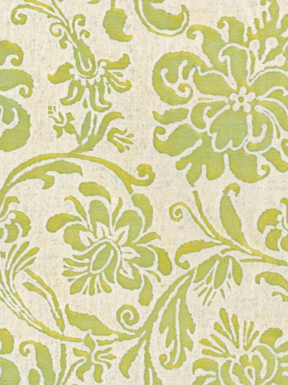 5379 CIMAROSA in sulphur green & antique white Fortuny Printed Cottons