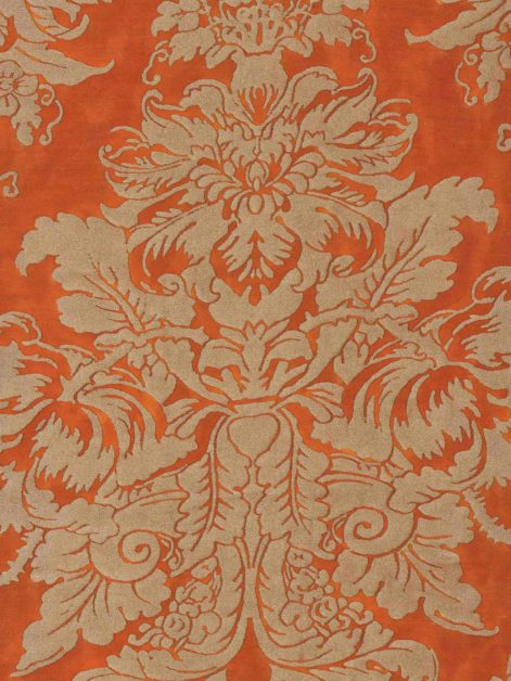 5704 DANDOLO in burnt orange & silvery gold Fortuny Printed Cottons