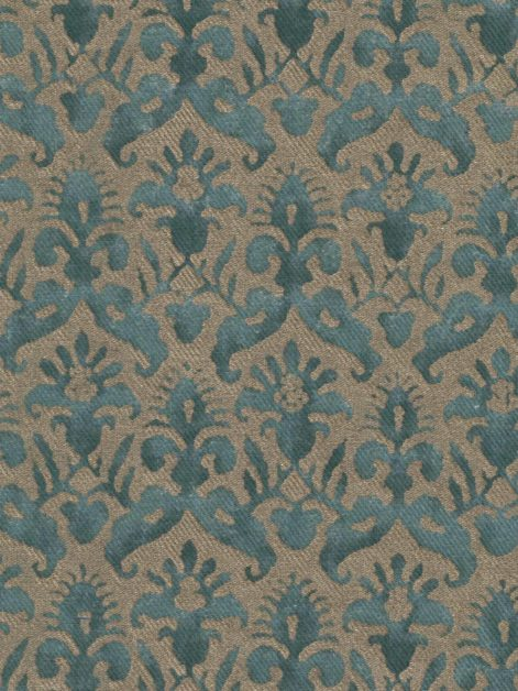 5371 DELFINO in blue & silvery gold texture Fortuny Printed Cottons