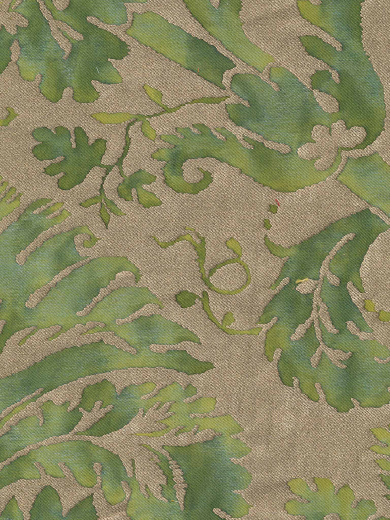 5055 DEMEDICI in green & silvery gold Fortuny Printed Cottons