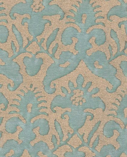 5194 DELFINO in aquamarine & silvery gold Fortuny Printed Cottons