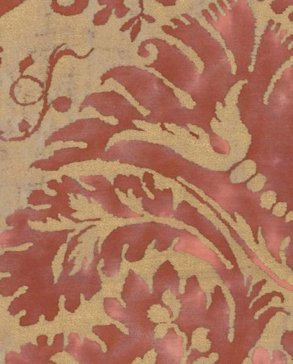 5054 DEMEDICI in red & silvery gold Fortuny Printed Cottons