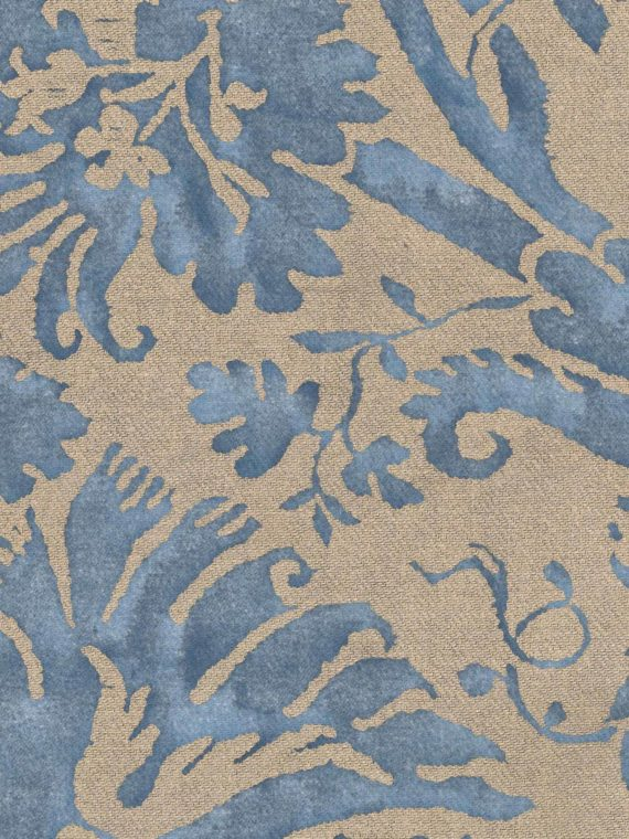 5059 DEMEDICI in blue & silvery gold texture Fortuny Printed Cottons