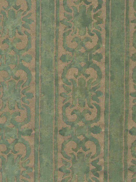 5323 FARNESE Frieze in majolica green & silvery gold Fortuny Printed Cottons