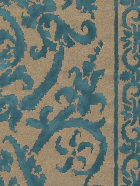 5348 FARNESE Frieze in blue-green & silvery gold Fortuny Printed Cottons