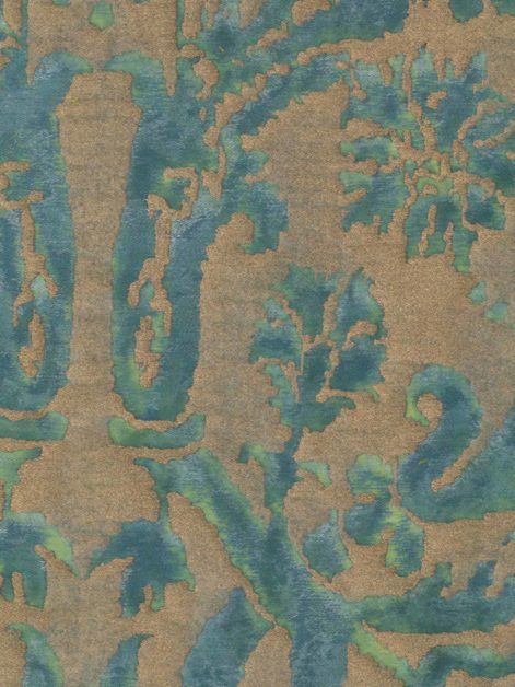 5347 FARNESE in blue-green & silvery gold Fortuny Printed Cottons