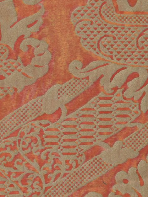 5609 FIACCOLA in burnt apricot & silvery gold Fortuny Printed Cottons