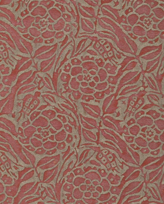 5228 FIORI in red & silvery gold Fortuny Printed Cottons