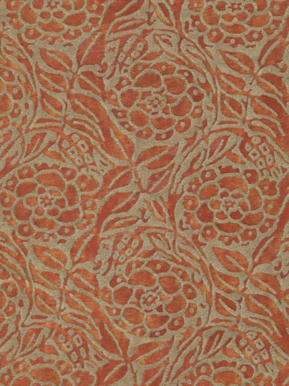 5611 FIORI in burnt apricot & silvery gold Fortuny Printed Cottons