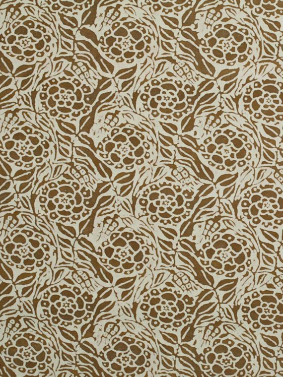 5666 FIORI in caramel & white Fortuny Printed Cottons