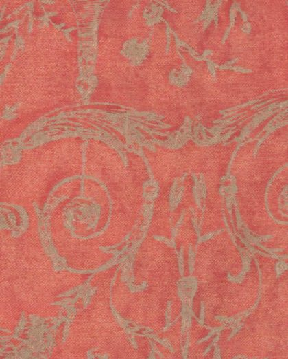 5084 FESTONI in pomegranate red & silvery gold Fortuny Printed Cottons