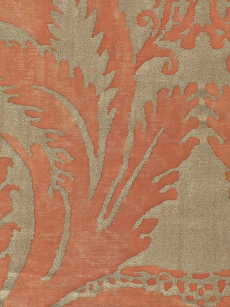 5445 GLICINE in persimmon & silvery gold Fortuny Printed Cottons