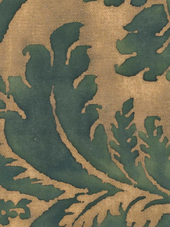 5071 GLICINE in green & gold texture Fortuny Printed Cottons