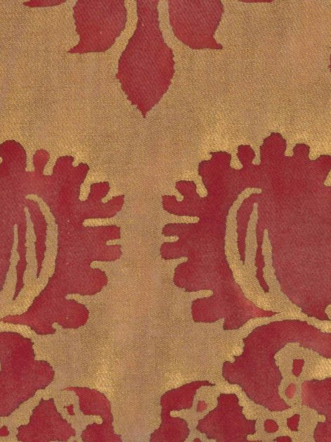 5072 GLICINE in red & gold texture Fortuny Printed Cottons