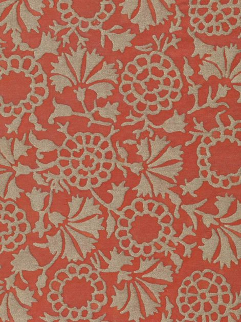 5106 IRANI in pomegranate red & silvery gold Fortuny Printed Cottons