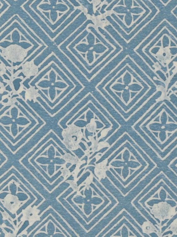 5491 JUPON Bouquet in azure blue & warm white Fortuny Printed Cottons