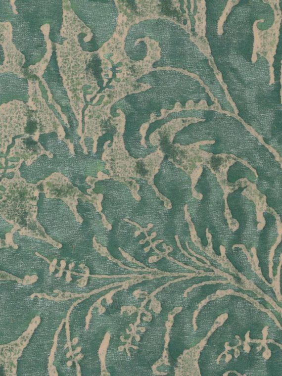5285 LUCREZIA in blue-green on parchment Fortuny Printed Cottons