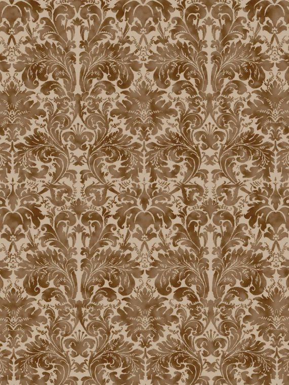 5689 LUCREZIA in warm french brown & gold Fortuny Printed Cottons