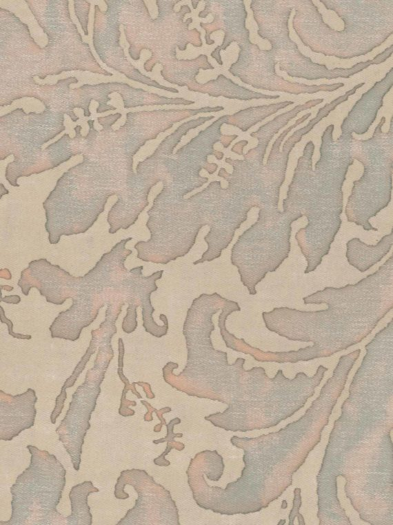 5386 LUCREZIA in driftwood monotones with blue-green overlay Fortuny Printed Cottons