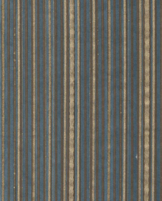 5647 MALMAISON in chocolate & gold stripes on slate blue Fortuny Printed Cottons