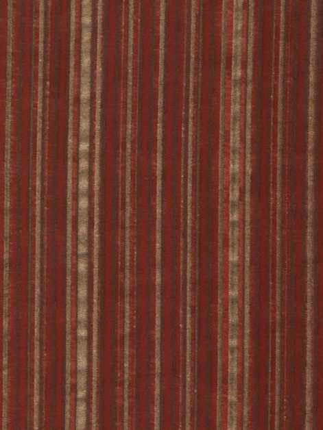 5648 MALMAISON in brown & gold stripes on deep burgundy Fortuny Printed Cottons