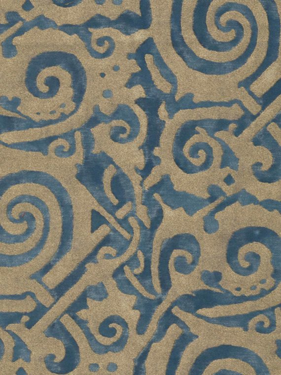 5029 MAORI in blue & silvery gold Fortuny Printed Cottons