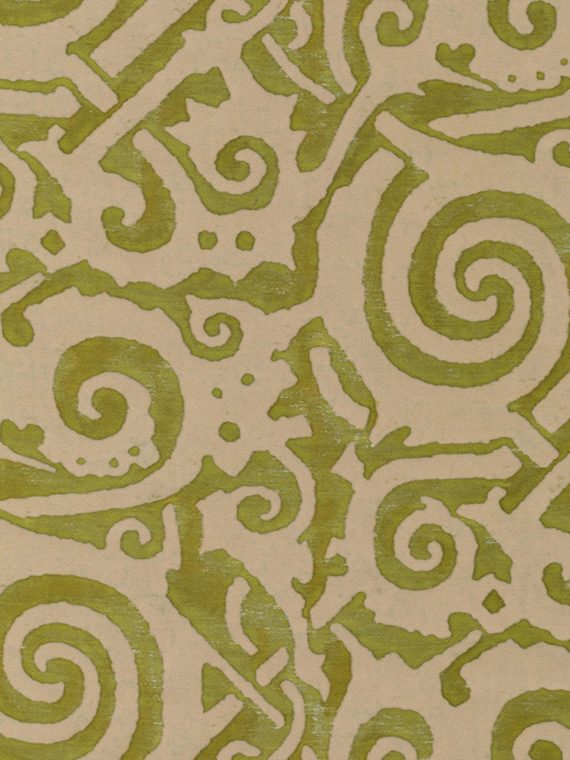 5512 MAORI in bayou-lime green & old ivory Fortuny Printed Cottons