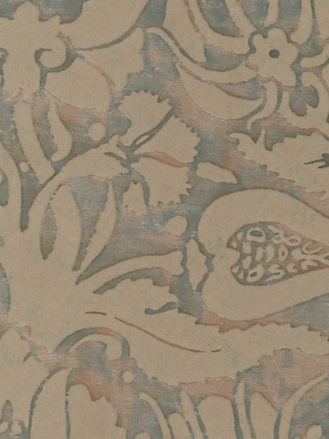 5619 MELAGRANA in driftwood monotones with blue-green overlay Fortuny Printed Cottons