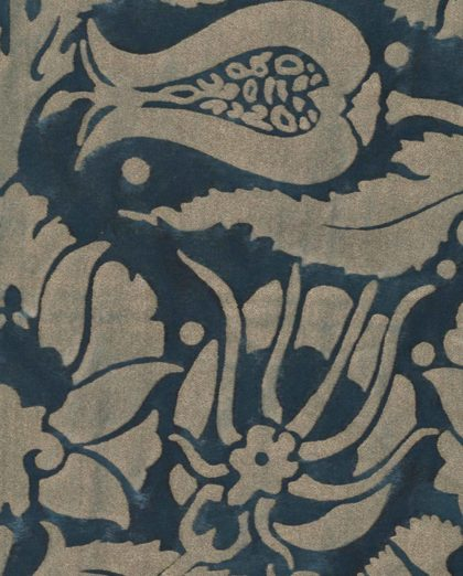 5620 MELAGRANA in midnight blue & silver Fortuny Printed Cottons