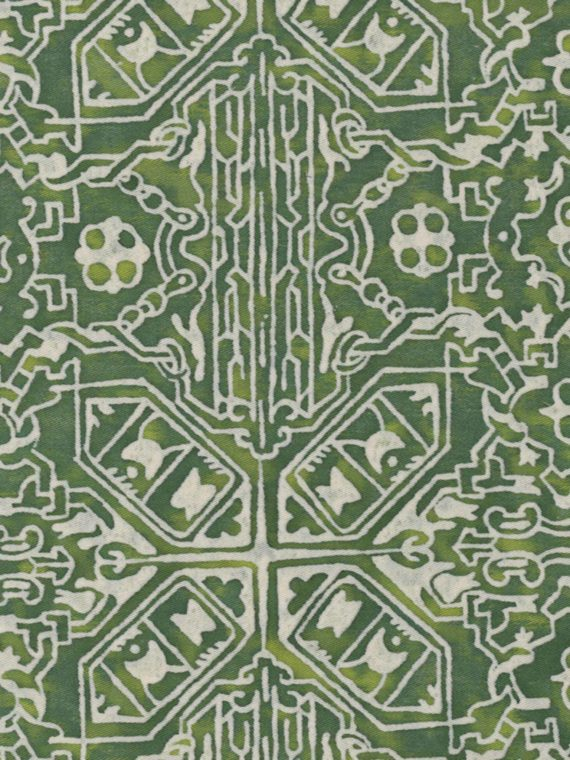 5476 MORESCO in green & warm white Fortuny Printed Cottons