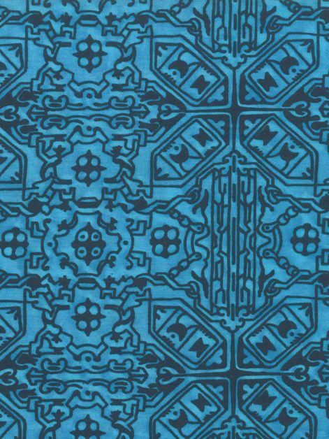 5711 MORESCO in turkish blue & navy Fortuny Printed Cottons