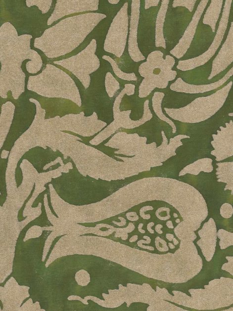5670 MELAGRANA in green & silver Fortuny Printed Cottons