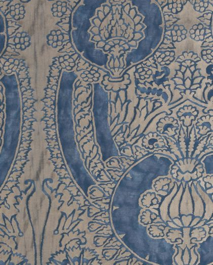 5621 NICOLO in blue & silvery gold Fortuny Printed Cottons