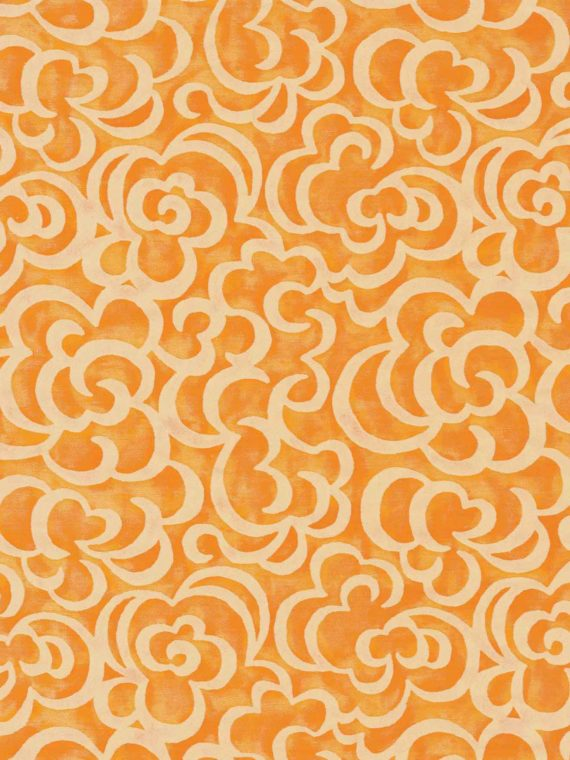 5715 NUVOLE in tangerine & cream Fortuny Printed Cottons